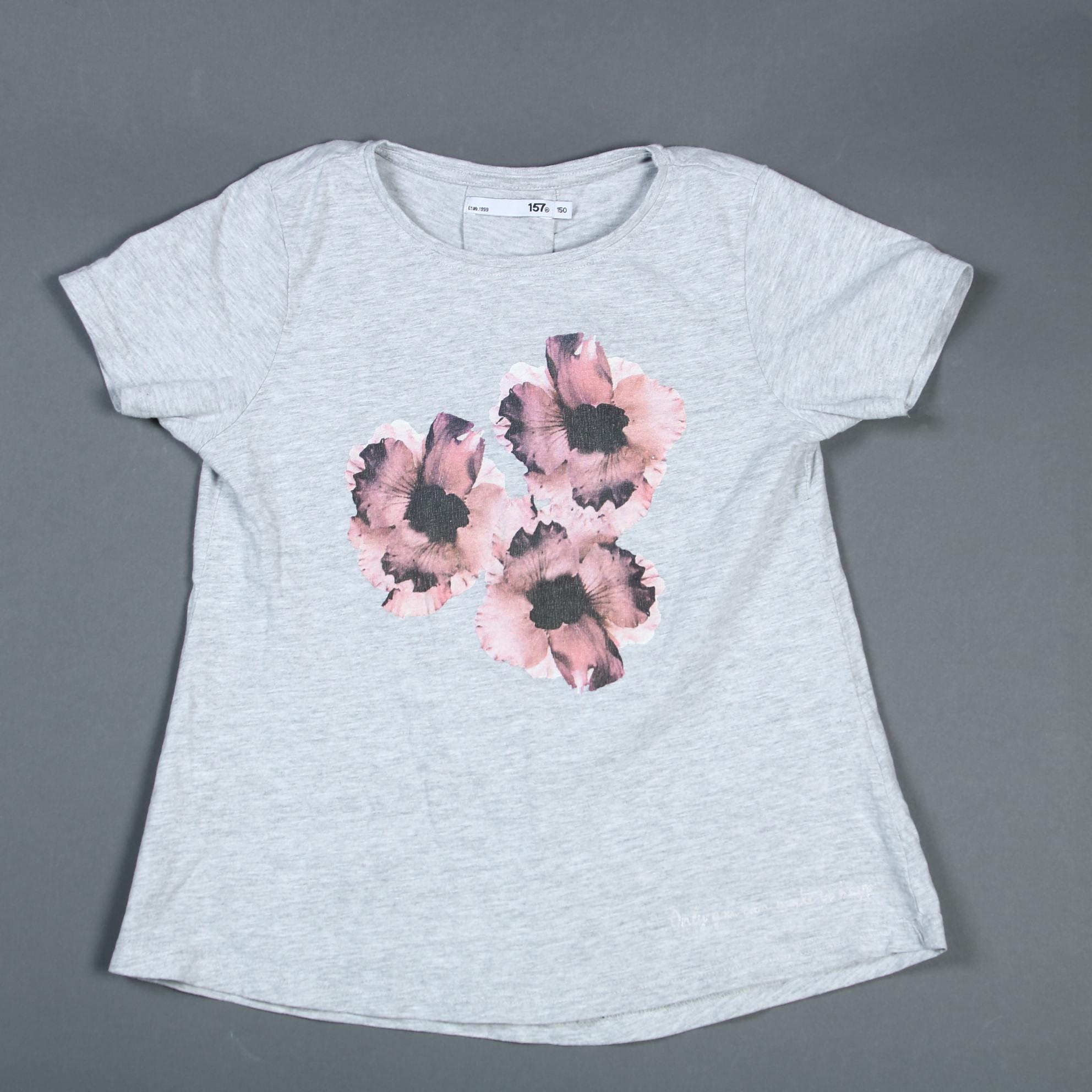 Lager 157 grå t shirt med blomtryck 150